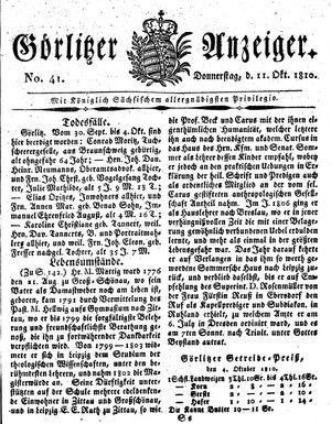 Görlitzer Anzeiger vom 11.10.1810