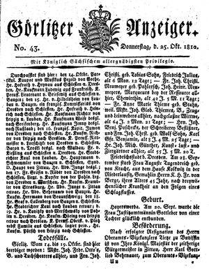 Görlitzer Anzeiger vom 25.10.1810