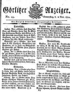 Görlitzer Anzeiger vom 01.11.1810