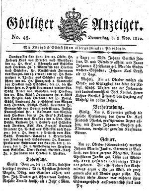 Görlitzer Anzeiger on Nov 8, 1810