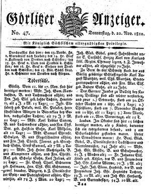 Görlitzer Anzeiger vom 22.11.1810