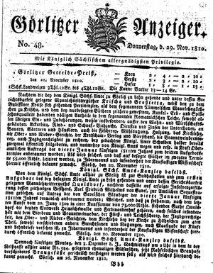 Görlitzer Anzeiger vom 29.11.1810