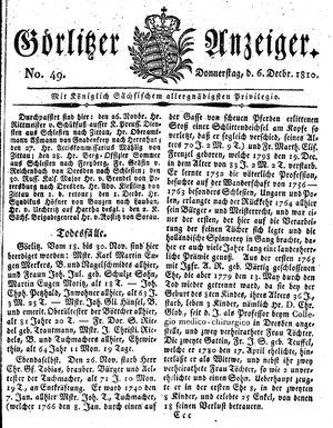 Görlitzer Anzeiger vom 06.12.1810
