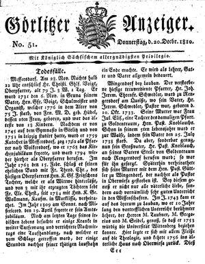 Görlitzer Anzeiger vom 20.12.1810