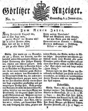 Görlitzer Anzeiger vom 03.01.1811