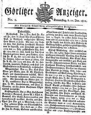 Görlitzer Anzeiger vom 10.01.1811