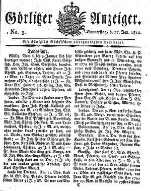 Görlitzer Anzeiger vom 17.01.1811