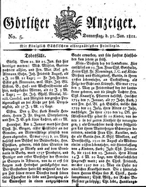 Görlitzer Anzeiger vom 31.01.1811