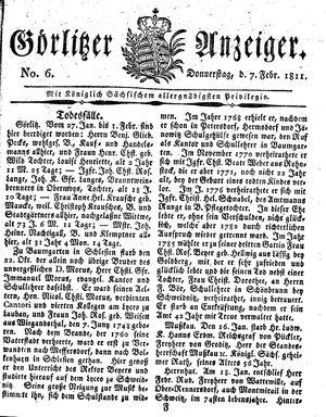 Görlitzer Anzeiger vom 07.02.1811