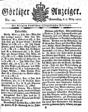 Görlitzer Anzeiger vom 07.03.1811