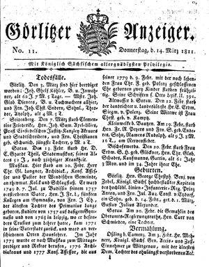 Görlitzer Anzeiger vom 14.03.1811