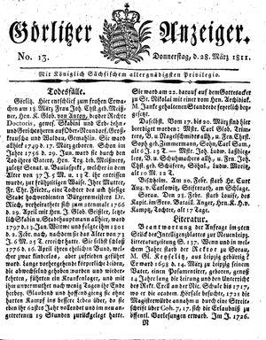 Görlitzer Anzeiger vom 28.03.1811