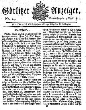 Görlitzer Anzeiger vom 04.04.1811