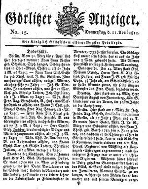 Görlitzer Anzeiger vom 11.04.1811