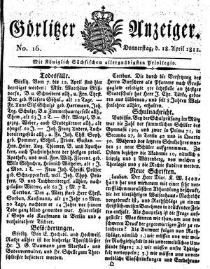 Görlitzer Anzeiger vom 18.04.1811