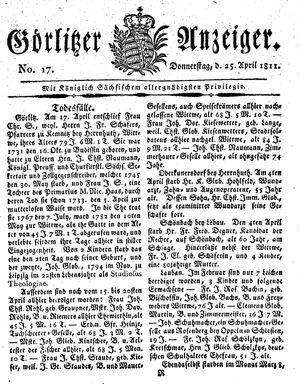 Görlitzer Anzeiger vom 25.04.1811