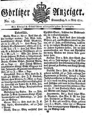 Görlitzer Anzeiger vom 02.05.1811