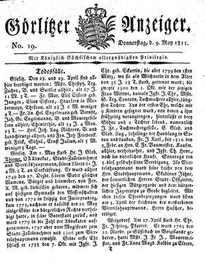 Görlitzer Anzeiger vom 09.05.1811