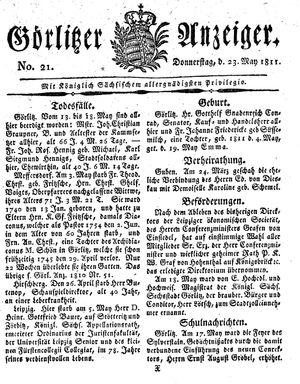 Görlitzer Anzeiger vom 23.05.1811
