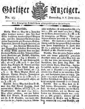 Görlitzer Anzeiger vom 06.06.1811