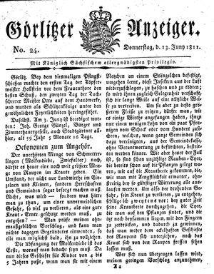 Görlitzer Anzeiger vom 13.06.1811