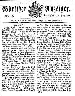 Görlitzer Anzeiger vom 20.06.1811