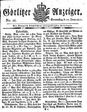Görlitzer Anzeiger vom 27.06.1811