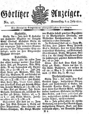 Görlitzer Anzeiger vom 04.07.1811