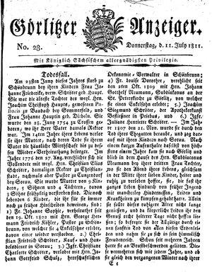 Görlitzer Anzeiger vom 11.07.1811