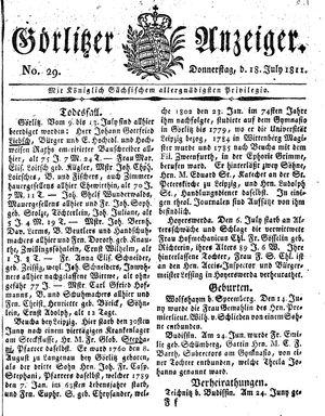 Görlitzer Anzeiger vom 18.07.1811
