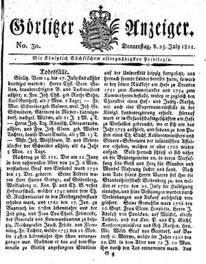 Görlitzer Anzeiger vom 25.07.1811