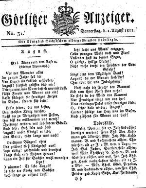 Görlitzer Anzeiger vom 01.08.1811