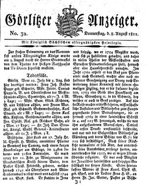 Görlitzer Anzeiger vom 08.08.1811