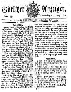Görlitzer Anzeiger vom 15.08.1811