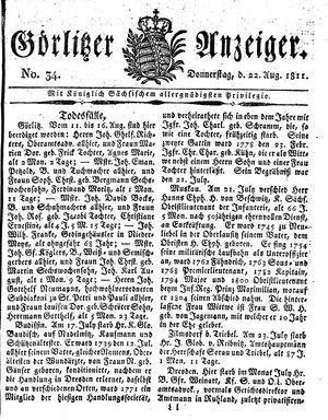 Görlitzer Anzeiger vom 22.08.1811