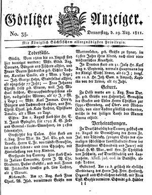 Görlitzer Anzeiger vom 29.08.1811