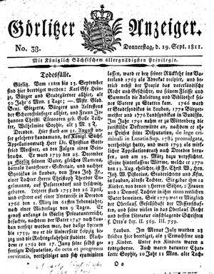 Görlitzer Anzeiger vom 19.09.1811