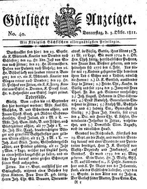 Görlitzer Anzeiger vom 03.10.1811