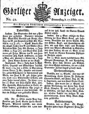 Görlitzer Anzeiger vom 17.10.1811