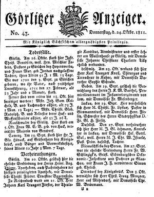 Görlitzer Anzeiger vom 24.10.1811