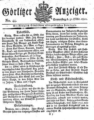 Görlitzer Anzeiger vom 31.10.1811