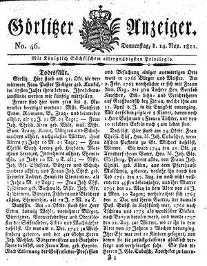 Görlitzer Anzeiger on Nov 14, 1811