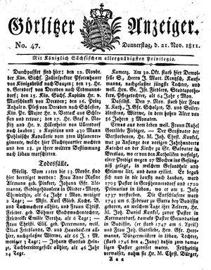 Görlitzer Anzeiger on Nov 21, 1811