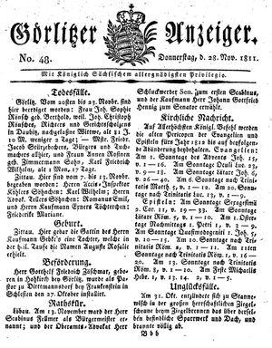 Görlitzer Anzeiger vom 28.11.1811