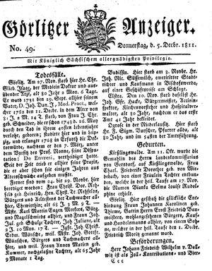 Görlitzer Anzeiger vom 05.12.1811
