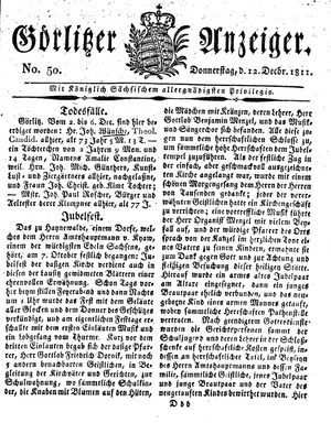 Görlitzer Anzeiger vom 12.12.1811