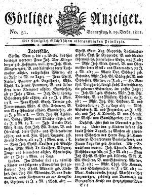 Görlitzer Anzeiger vom 19.12.1811