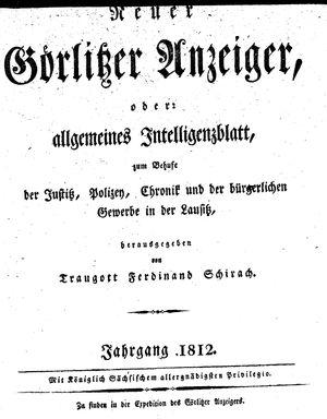 Görlitzer Anzeiger vom 01.01.1812