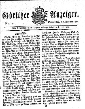 Görlitzer Anzeiger vom 09.01.1812