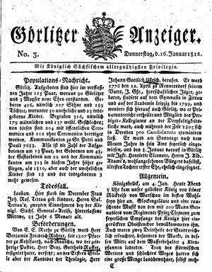Görlitzer Anzeiger vom 16.01.1812